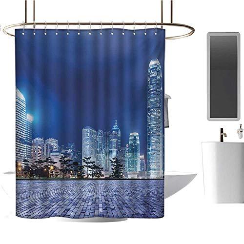 Modern Luxury Shower curtain70 x70 Urban,Hong Kong Skyline Night Architectural Cityscape Skyscrapers Modern Photo,Royal Blue Purplegrey,Print Polyester Fabric Bathroom Decor Sets with Hooks