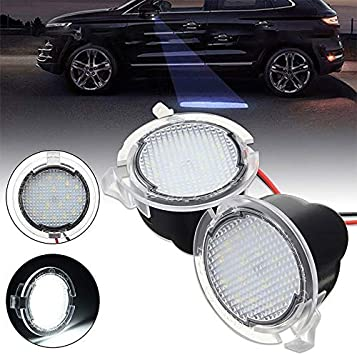 white Lightdu LED Puddle white Lights Under Side Rear View Mirror for Ford Explorer Edge Mondeo Taurus Everest 2Pcs Lights