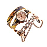 Woman Lady Leather strap Rhinestone Rivet Chain Quartz set with Bracelet Wristwatch Watch Small Face dial