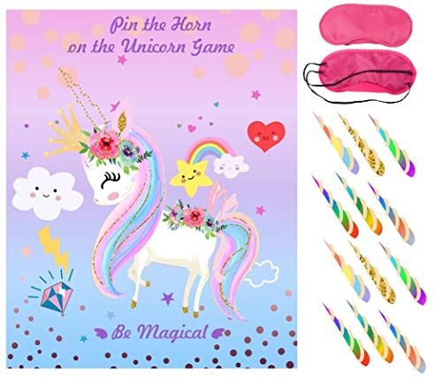 Pin The Horn on The Unicorn Game Birthday Party Favor Games Unicorn Party Supplies Unicorn Gifts,with 36 Horns -