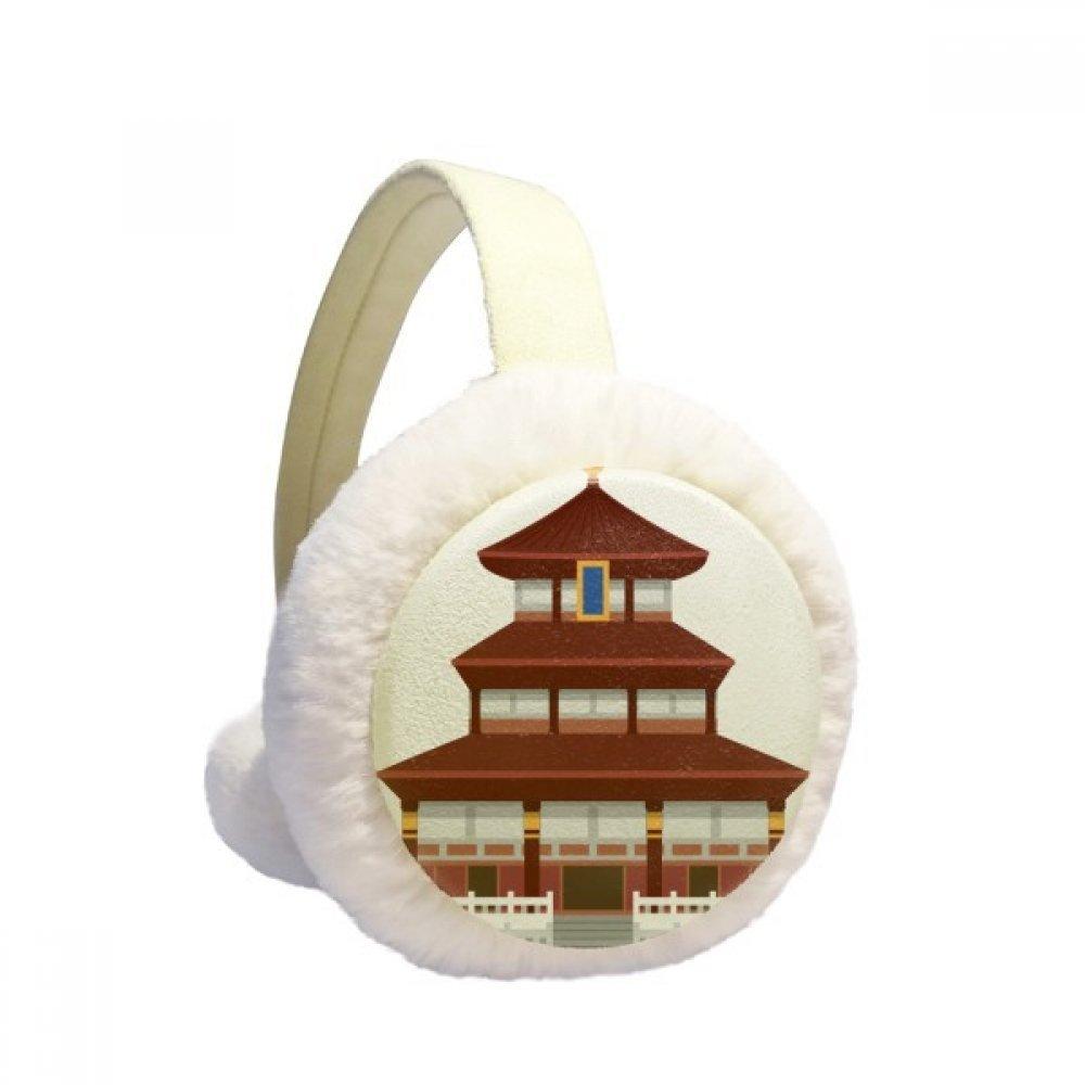 China Architecture Temple Landmark Pattern Winter Earmuffs Ear Warmers Faux Fur Foldable Plush Outdoor Gift