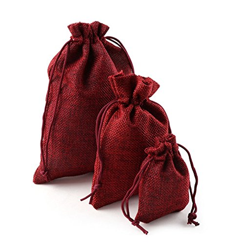 10Pcs Christmas Linen Jute Drawstring Gift Bags Sacks Weddin