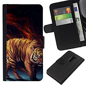 Ihec-Tech / Flip PU Cuero Cover Case para LG G2 D800 D802 D802TA D803 VS980 LS980 - Power tiger Fierce Cat