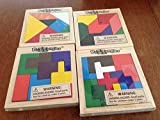 Set of 4 PUZZANGLES - Wooden Tangram Puzzles - BRAIN Teaser MOTOR Skills - Toys PARTY FAVORS - EDUCATIONAL -Classroom Wood Shapes 4'' Jigsaw