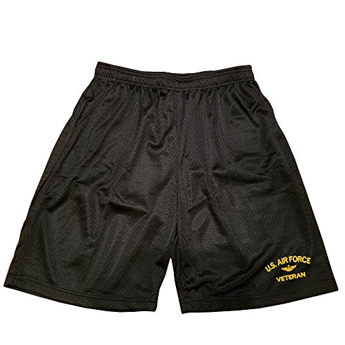 Military Air Forces - USAF U.S.Air force Veteran Military Athletic Jersey Mesh Basketball Shorts Black