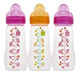 MAM Triple Pack Baby Bottle, 4 Months, 11 Ounce, Colors May Vary, Baby & Kids Zone