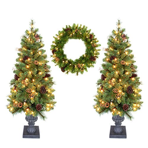 (Home Accent Holiday Double 4 ft. Pot Tree Artificial Christmas Tree and 24 in. Wreath with Clear Lights, Pinecones)
