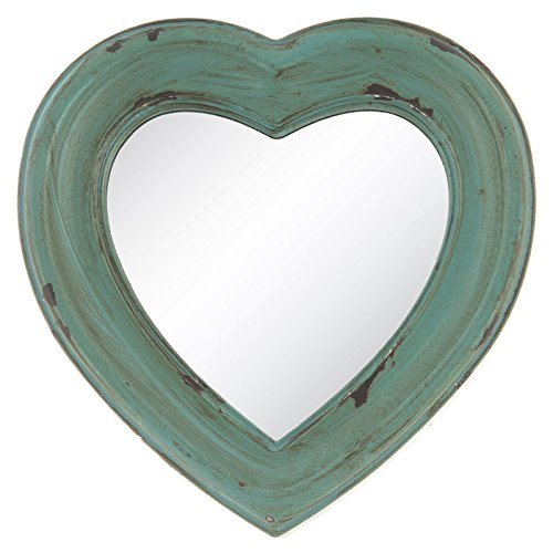 Antique Turquoise Wood Heart-Shaped Wall Mirror ()