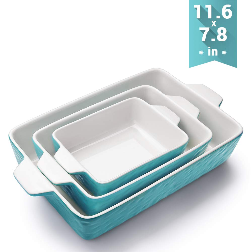 Bakeware Set, Krokori Rectangular Baking Pan Ceramic Glaze Baking Dish for Cooking, Kitchen, Cake Dinner, Banquet and Daily Use, 11.6 x 7.8 Inches of Aquamarine, 3 Pack of Rectangular by Krokori