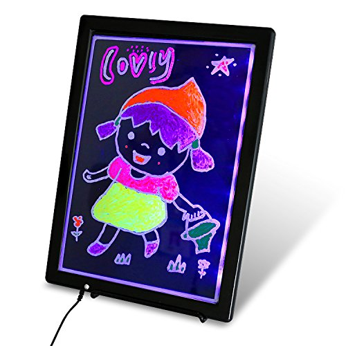 USB LED Writing Board, 12.8x9.5inch Electronic Neon Illuminated Kids Drawing Board, LCD Writing Message Board Handwriting Pad with Erasable Chalk Marker, Business Sign, Office Memo & Home Note by CHILDY