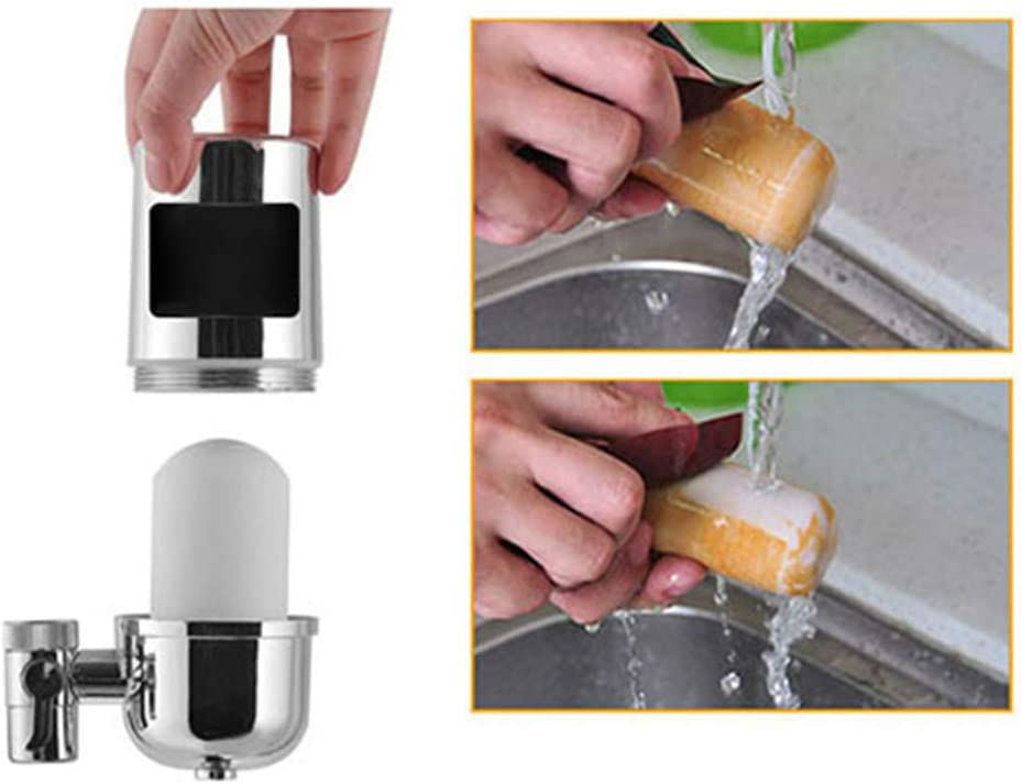 Beher Faucet Water Filter Stainless-Steel Reduce Chlorine High Water Flow Water Purifier with Ultra Adsorptive Material Water Filters for Faucets Fits Standard Faucets