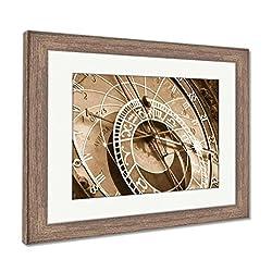 Ashley Framed Prints Prague Astronomical Clock, Wall Art Home Decoration, Sepia, 26x30 (frame size), Rustic Barn Wood Frame, AG5574778