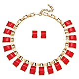 """Palm Beach Jewelry Gold Tone Earrings Necklace Set, Rectangular Shaped Coral Lucite, 16"""" Plus 3"""" Extension"""