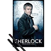1art1 Poster + Hanger: Sherlock Poster (36x24 inches) Dr. Watson, Friends Protect People and 1 Set of Black Poster Hangers