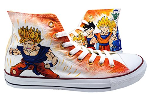 Custom Dragon Ball Z Anime Cosplay Unisex Adult Lace-up High Top White Fashion Sneakers Canvas Shoes (EUR 41/255MM)