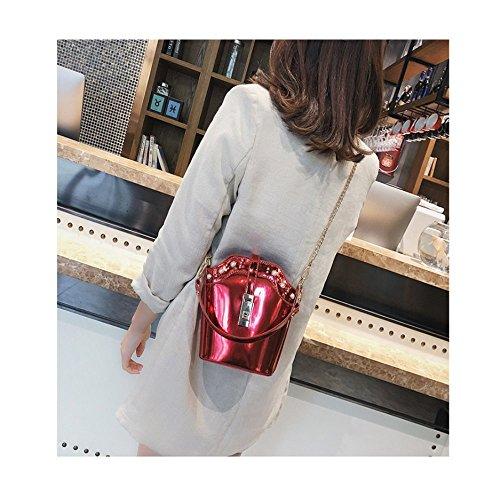 Version Girls Noodles Bucket Bag Ajlbt Fashion Chain Pearl Korean Wild Bright Laser Bag Messenger Practical Gold xYHC11wqp