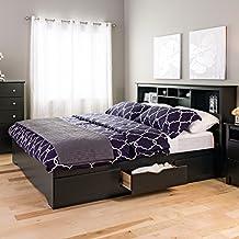 Prepac BBK-8400-K Mate's Platform Storage Bed with 6 Drawers, King, Black