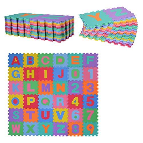 Alfombra Puzzle Letras y Números Alfabeto Goma Espuma para Niños 31x31cm