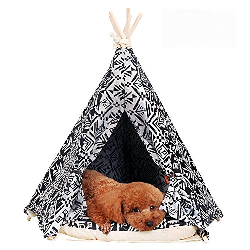 little dove Pet Teepee Dog(Puppy) & Cat Bed - Portable Pet Tents & Houses for Dog(Puppy) & Cat Indian Style 24 Inch with Cushion