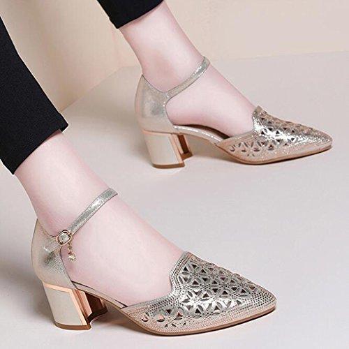 Talons L'orteil Tête Strass Hauts Moyen Pointue Vamp Épais Été Sandales Femme Envelopper Or Tissu Talon Chaussures À 46qR5wH