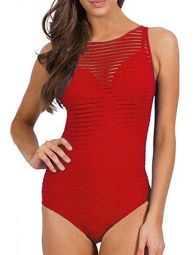 HJL Bikini-Color ÚnicoBandeau-Poliéster Red