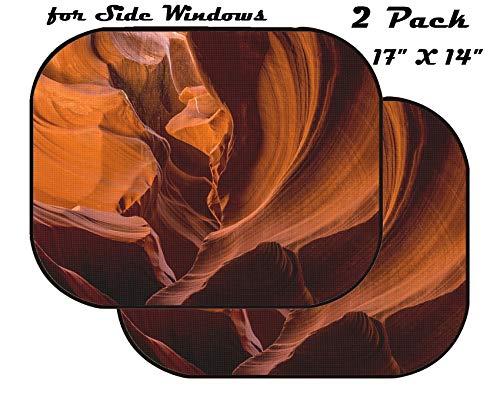 r Side Window - UV Protector for Baby and Pet - Block Sunlight - Image of Canyon red Stone Desert Slot Arizona Sand Orange Erosion Navajo Rock cave USA Antelope Pattern ()