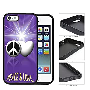 Peace And Love Symbols With Purple Glare Rubber Silicone TPU Cell Phone Case Apple iPhone 5 5s