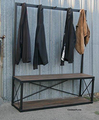 Reclaimed Wood Coat Stand, Steel Open Wardrobe Rack.