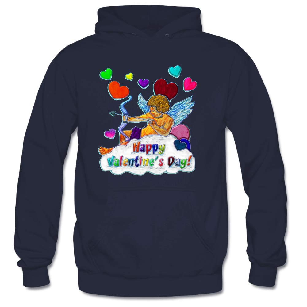 Personality Happy Valentines Day Long Sleeve Hooded Sweatshirt Watercolor