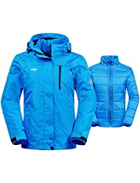 Wantdo Women's Winter Ski Jacket Water Resistant 3-in-1 Jacket Puff Liner