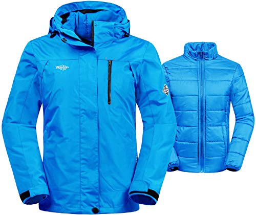 Wantdo Women's Thick 3-in-1 Ski Jacket Interchange Raincoat Hooded Mountain Winter Parka with Detachable Puffer Liner Outdoors(Blue, Small)