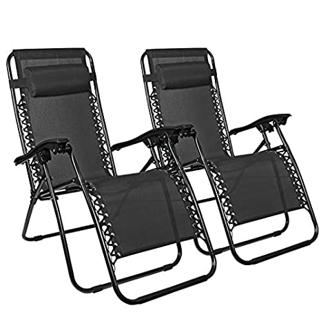 Phenomenal Flex Hq Zero Gravity Chairs Recliner Lounge Patio Chairs Set Of 2 Black Lamtechconsult Wood Chair Design Ideas Lamtechconsultcom