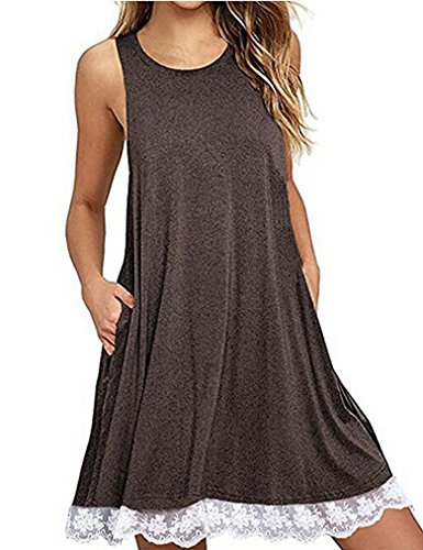 Halife Women Sleeveless Round Neck Lace Hem Tunic Tops Casual Swing Tee Shirt Dress Coffee, XXL