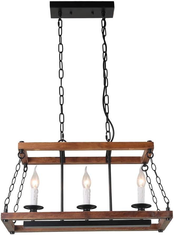 Anmytek Wood Metal Chandelier 3 Candle Holder Pendant Light, Rustic Industrial Edison Hanging Light Vintage Kitchen Island Ceiling Light Fixture, Brown C0053