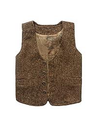 Coodebear Boys' Girls' Map Lined Pockets Buttons V Collar Vests