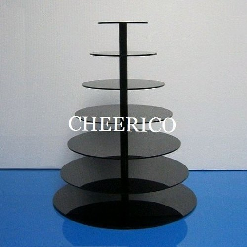 7 Tier Black Round Wedding Acrylic Cupcake Stand Tree Tower Cup Cake Display Dessert Tower