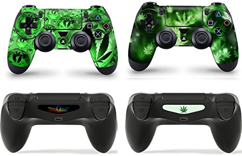 Gizmoz n Gadgetz 2 x Weed Playstation 4 PS4 Controller Skins Full Wrap Vinyl Sticker (Controller Weed Ps4 Skin)