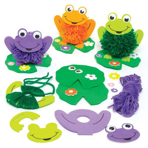 Baker Ross Frog & Lily Pom Pom Kits for Children to Decorate - Make Your Own Creative Spring Craft Set for Kids (Pack of 4)