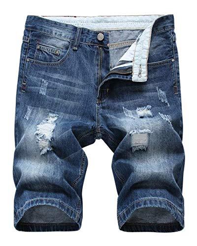 Hole Fit Summer Classiche Nge Casual Di Fashion Corti Uomo Blau Pantaloncini Rt Jeans Retro Slim Ragazzi Da Stile wq4xn7I8z