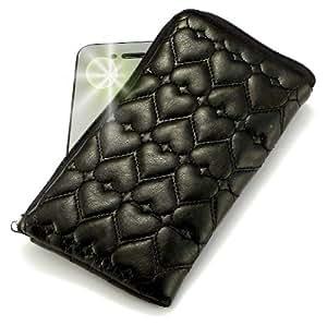 """""""Miss"""" Negro, Lujosa Billetera / Sostenedor en imitación de cuero acolchonado y con cierre para Nokia X3. Auténtica Funda / Estuche con correa para transportar para teléfonos móviles."""