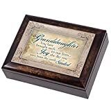 Granddaughter Joy to Our Lives Dark Wood Finish Jewelry Music Box Plays Tune Amazing Grace