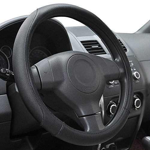 Elantrip Car Steering Wheel Cover Leather 14 1/2 inch to 15 inch, Universal Anti Slip Odorless for Auto Truck SUV Black