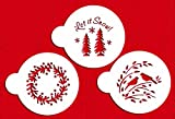 Designer Stencils C750 Let it Snow Cookie Stencils, (Wreath, Trees and Winter Lovebirds) Beige/semi-transparent