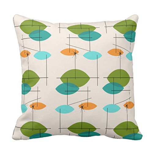 Emvency Throw Pillow Cover Orange Mid Retro Atomic Mobile Teal Century Decorative Pillow Case Home Decor Square Pillowcase 51TxFA8SaOL