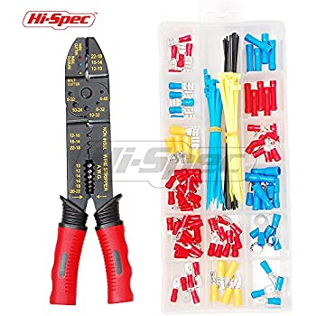 Hi-Spec 4-in-1 Wire Crimpers & Strippers with 175pc Wire Terminal and Connection Kit for Crimping Non & Insulated Terminals & Stripping Wires 10-22AWG, Bolt Cutters and Wire Cutters