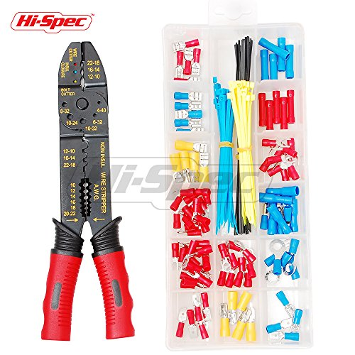 Hi-Spec 4-in-1 Wire Crimpers & Strippers with 175 Piece Wire Terminal and Connection Kit for Crimping Non & Insulated Terminals & Stripping Wires 10-22AWG, Bolt Cutters and Wire Cutters