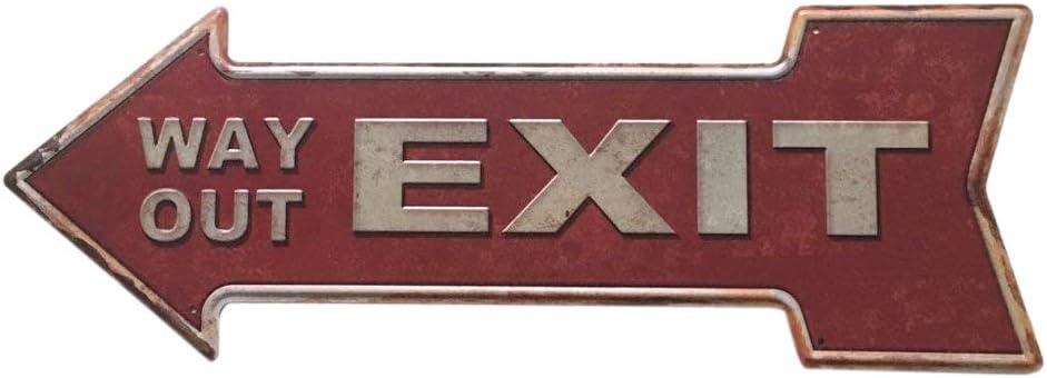 16x45cm Forme Fl/èche FEENOMENN Plaque M/étal D/éco Vintage Exit