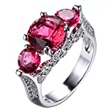 WOWJEW Girl Rose Red Ring With Crystal AAA Zircon White Gold Filled Wedding Engage Rings