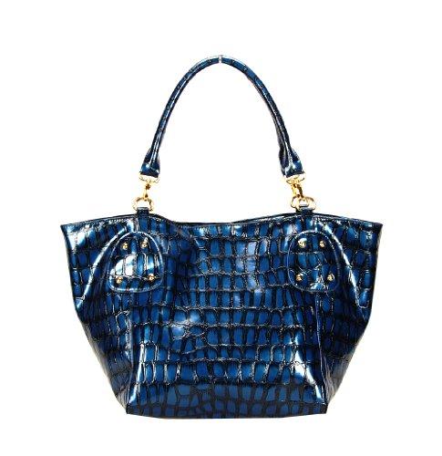 Cute Glossy Handbag by FASH – Dark Blue, Bags Central