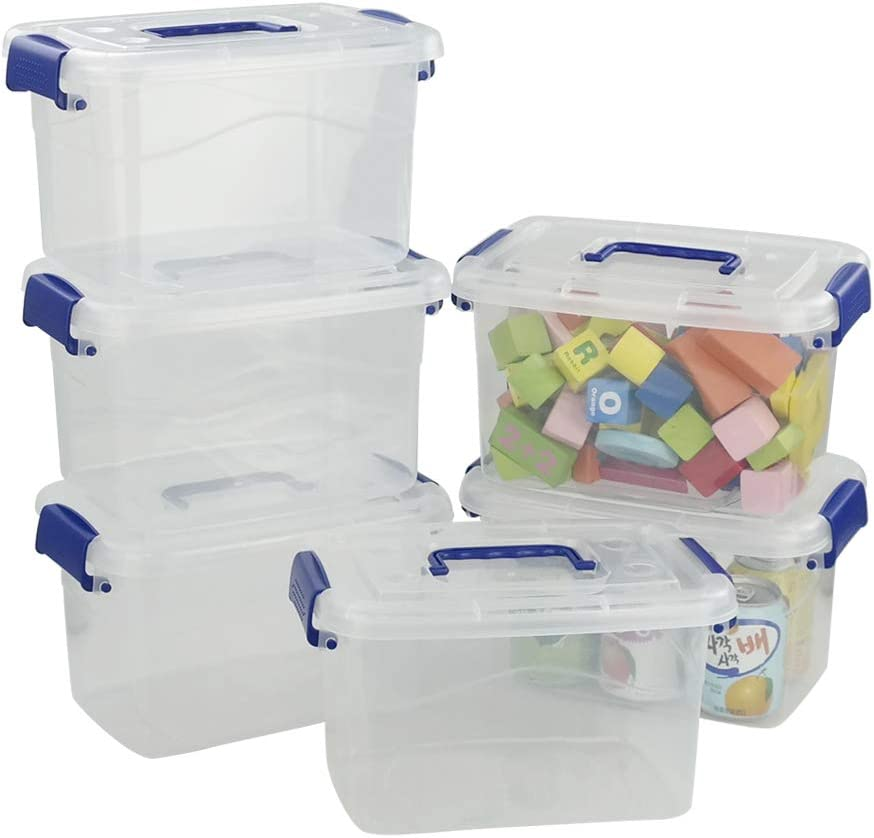 Obston Plastic Bins with Lid for Storage, Latching Containers for Organizing 5 L, Set of 6